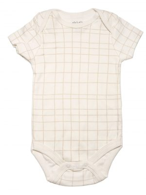 Beige with Square Brown Lines Bodysuit