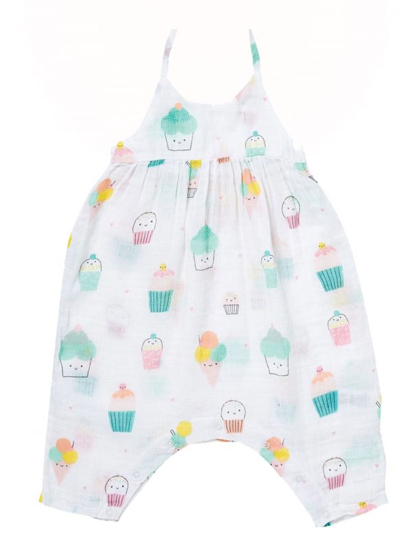 Baby Muslin Cupcake Romper with Bow Back