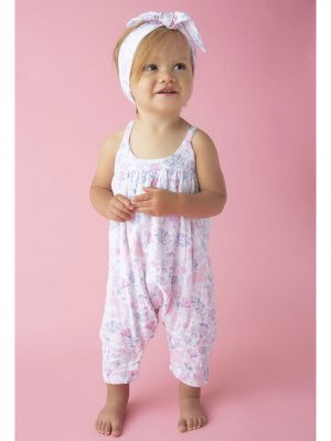 Unicorn Damask Romper Bow Back Alternate 1
