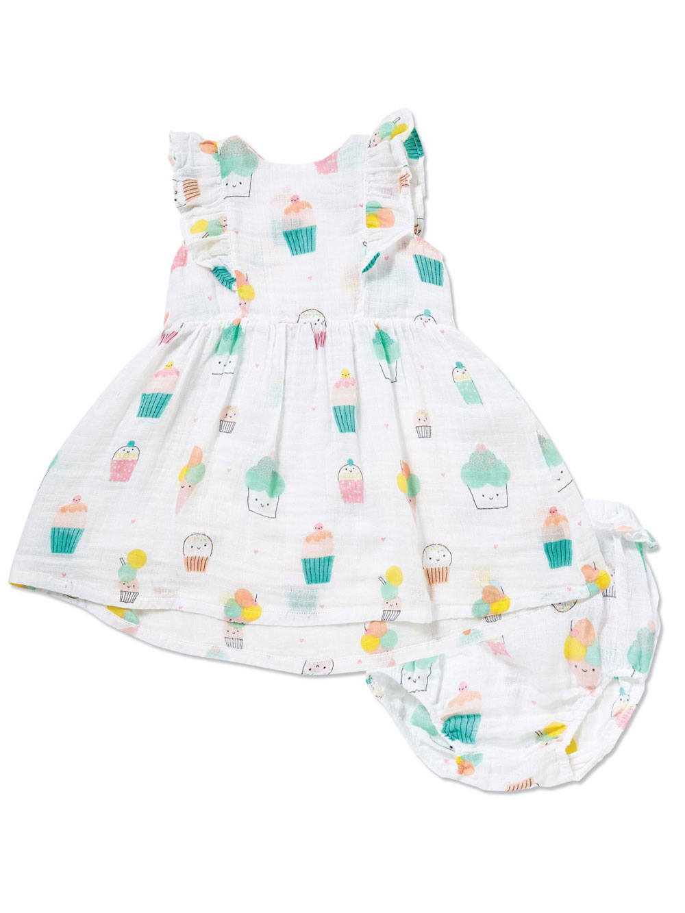 Angel Dear Sprinkles Ruffle Muslin Sunsuit