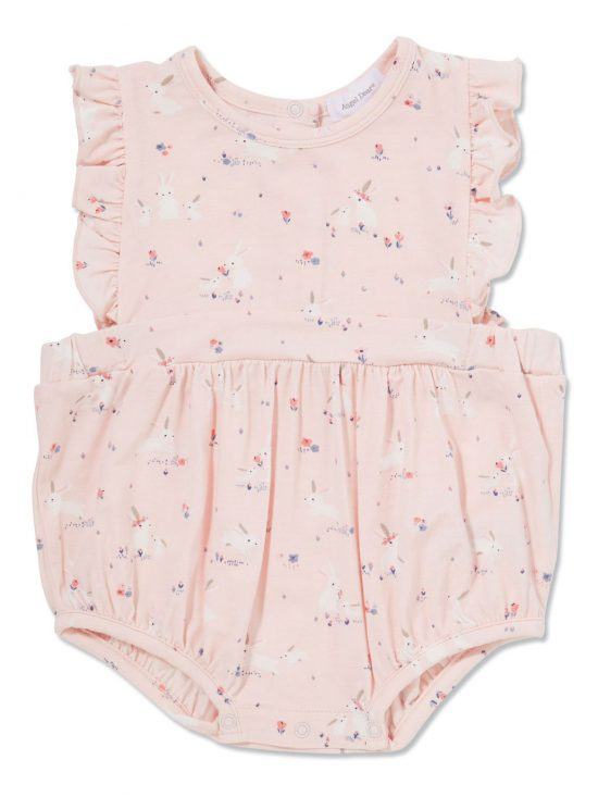 Baby Bunnies - Pink Apron Ruffle Sunsuit