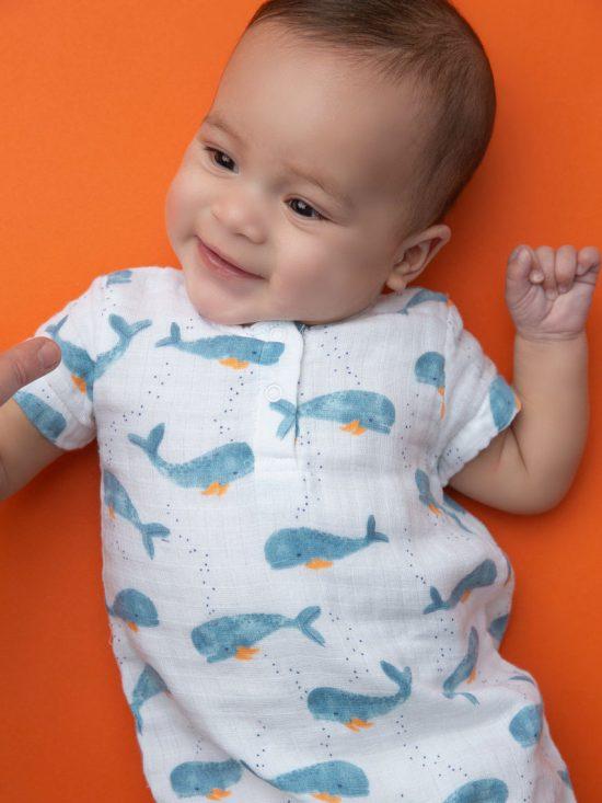Baby Whale Muslin Henley Shortall
