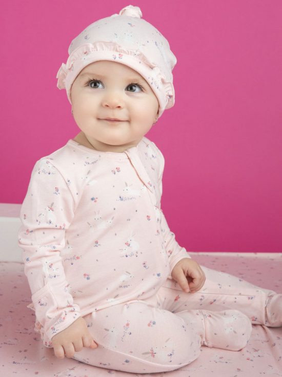 Baby Pink Bunnies Zipper Ruffle Footie