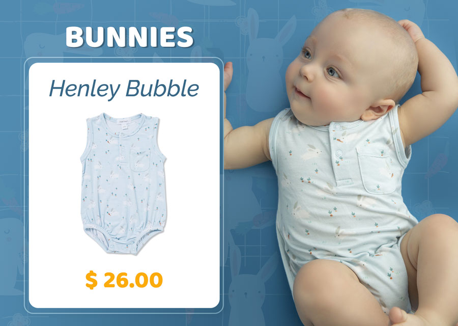 Bunnies Henley Bubble Blue Baby Clothes for $26.00