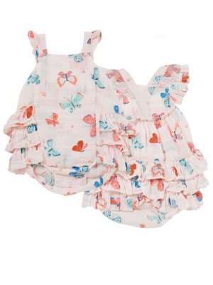 Butterflies Muslin Ruffle Sunsuit