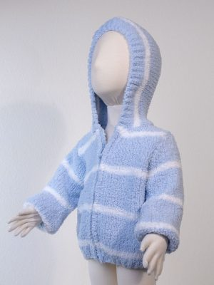 Cardigan Chenille Hoodie - Blue Ivory Side Front View