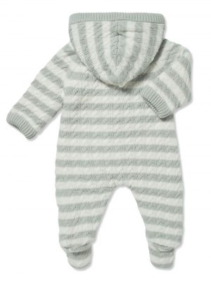 Cardigan Sherpa Hooded Footie Grey and White Back