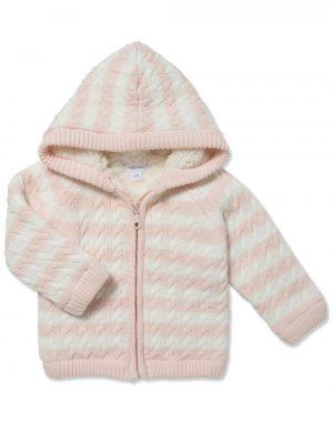 Cardigan Sherpa Hoodie Pale Pink Main