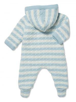 Cardigan Sherpa Hooded Footie Pale Blue and White Back
