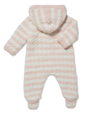 Cardigan Sherpa Hooded Footie Pale Pink and White Back