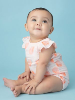 Peachy Muslin Ruffle Sunsuit
