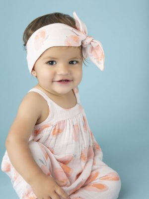 Peachy Muslin Romper with Bow Back