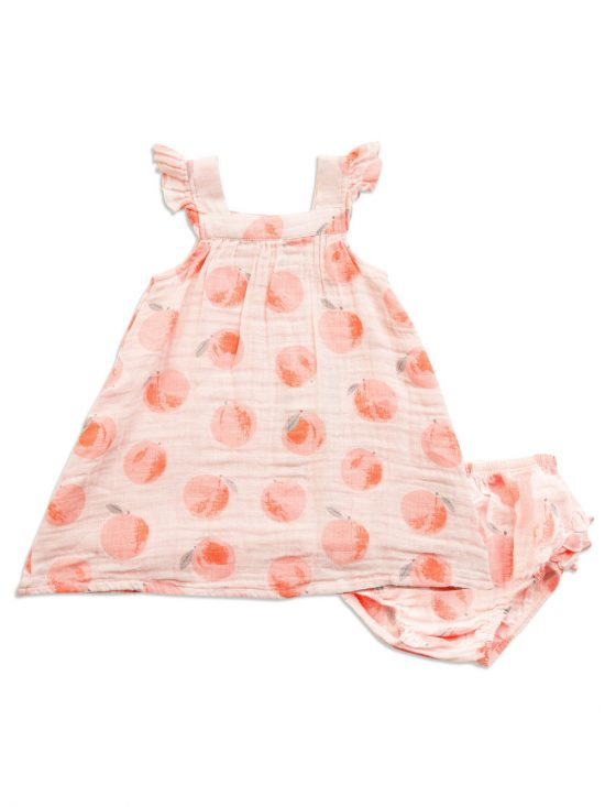 Peachy Muslin Ruffle Sundress and Dipper Cover