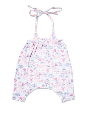 Unicorn Damask Romper Bow Back Main