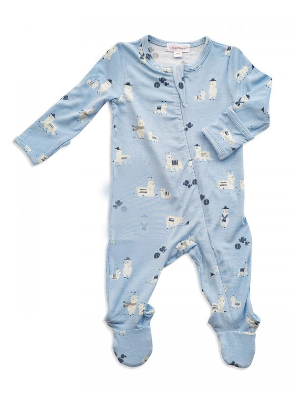 Llama Zipper Footie Blue -Angel Dear
