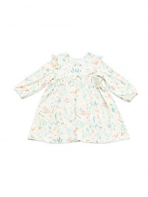 Woodland Floral Ruffle Slv Dress -Angel Dear
