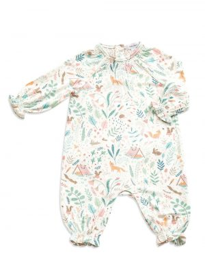 Smocked Romper Woodland Floral-Angel Dear