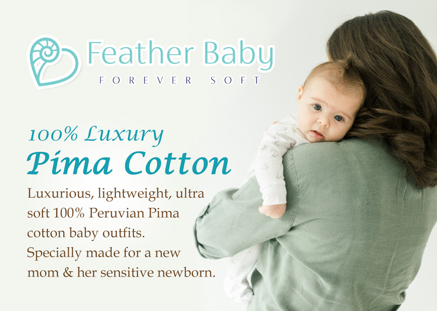 100% luxury pima cotton baby clothes for sensitive newborns by Feather Baby