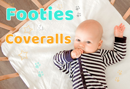 Cute Baby Footies and Coveralls to keep your cutie pie cozy and fresh.