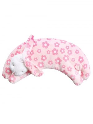 Pink Flower Bunny Curved Pillow for Babies